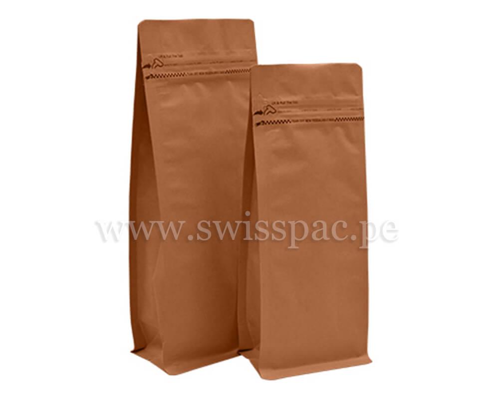 Bolsa fondo plano Papel kraft con zipper tipo bolsillo