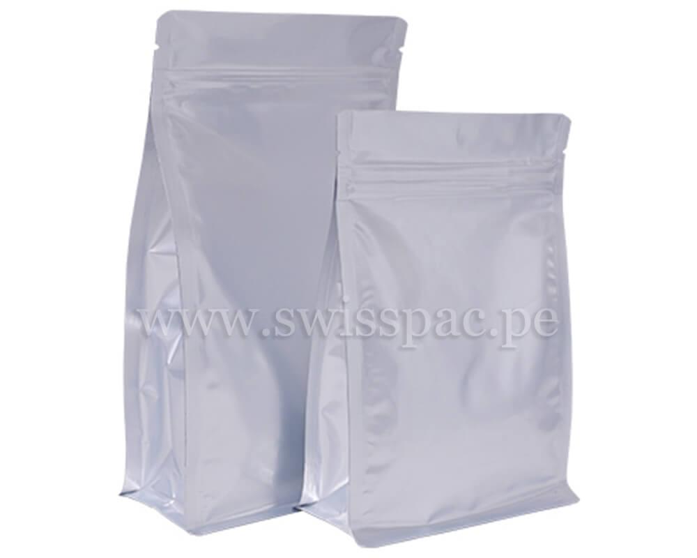Bolsa fondo plano Plata brillante con zipper