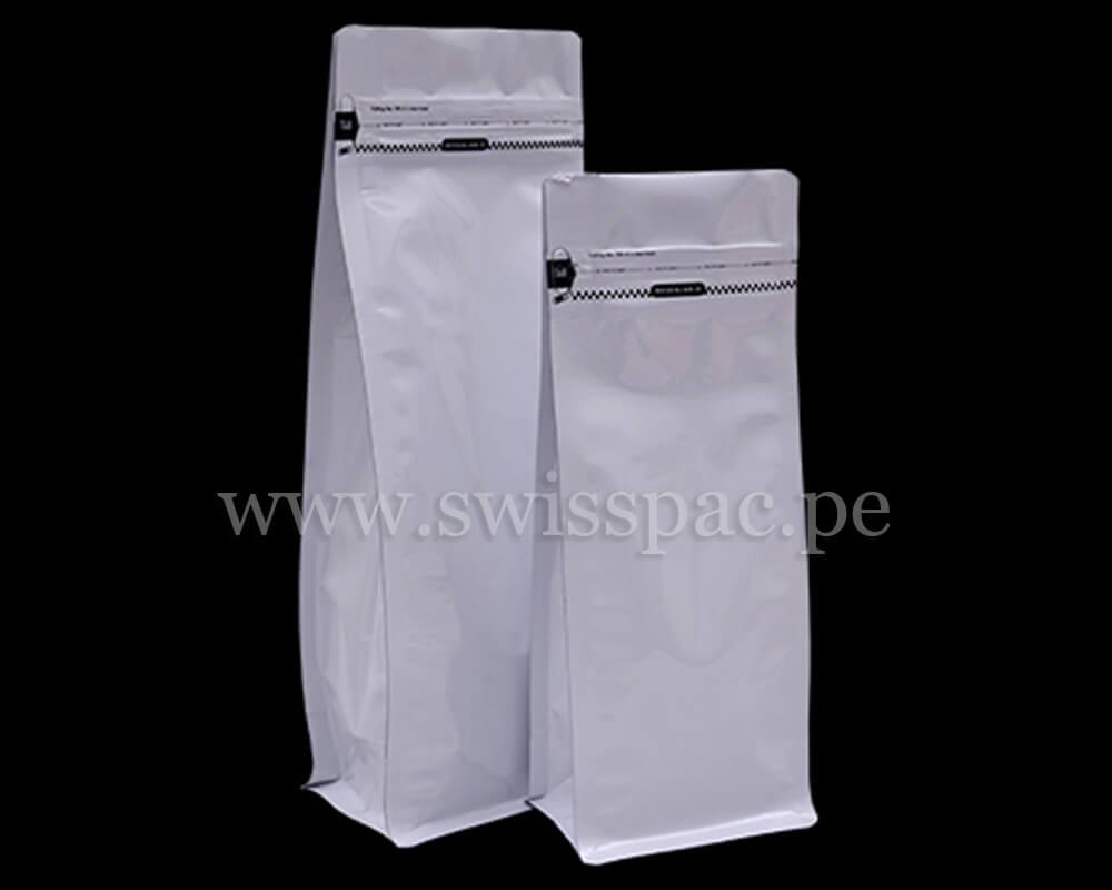 bolsa de fondo plano blanco brillante con cremallera arrancar