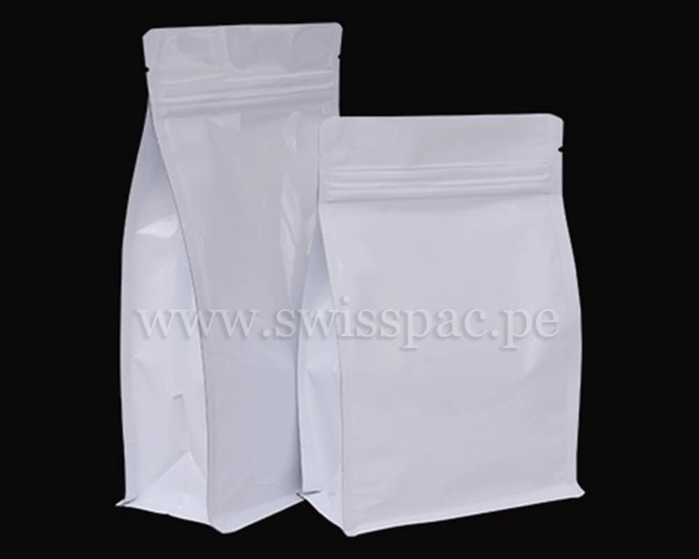 Bolsa fondo plano Blanco brillante con zipper