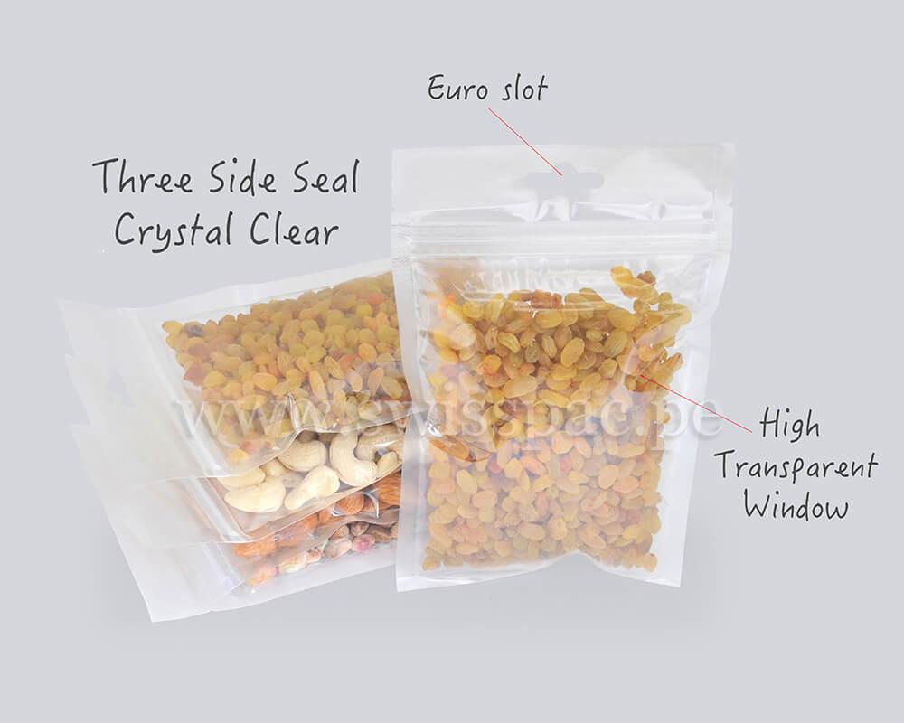 Cristal claro tres sello lateral Bolsas