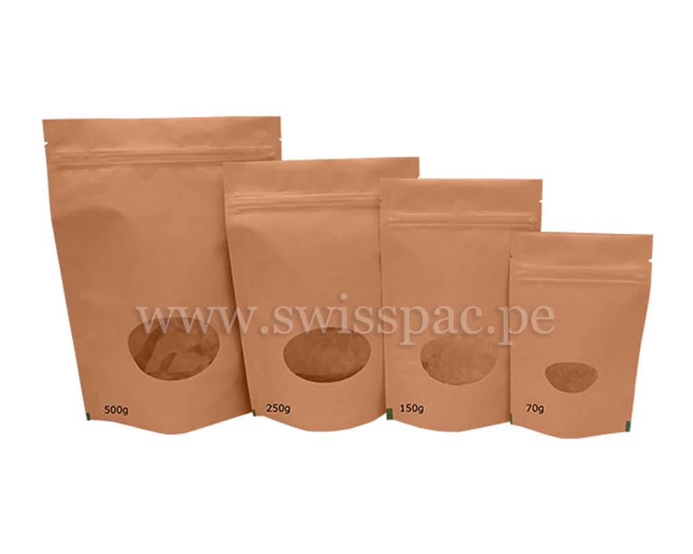 Bolsas de papel marrón con ventana oval