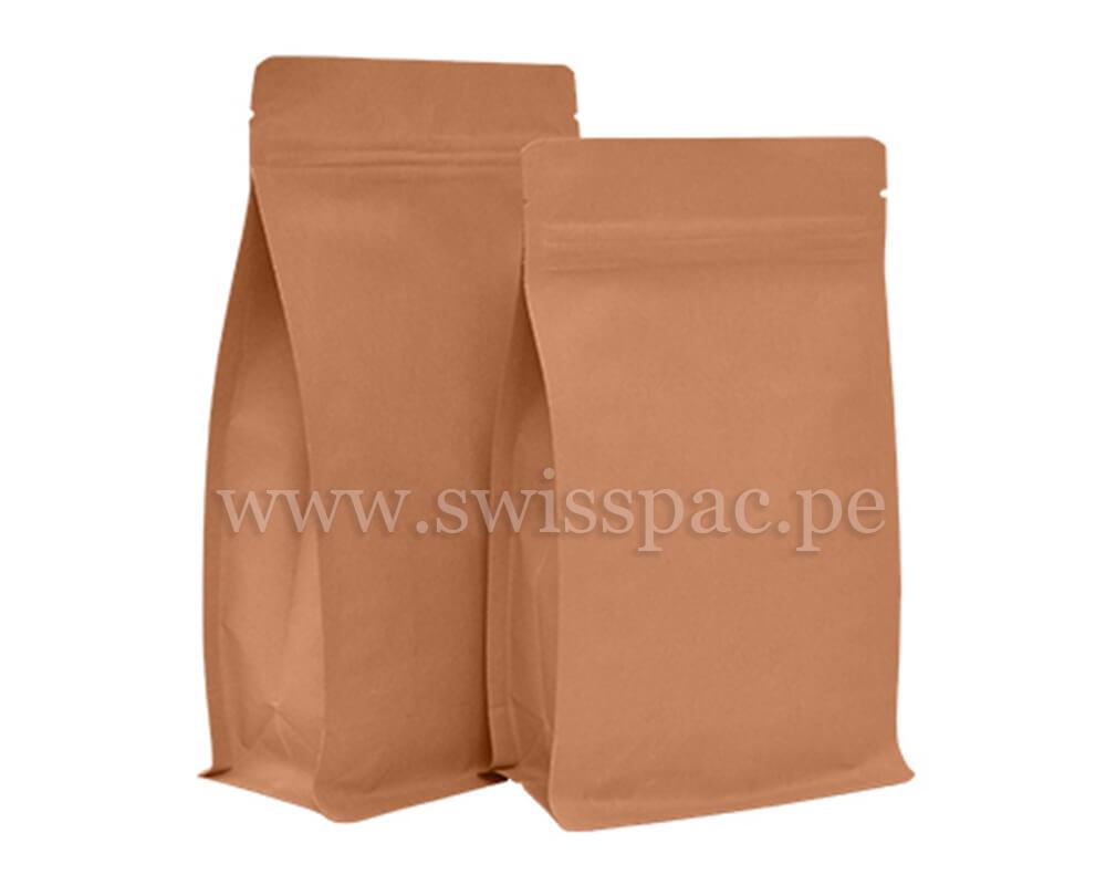 Bolsa fondo plano papel kraft con zipper