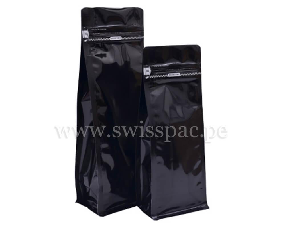 Bolsa fondo plano Negro brillante con zipper tipo bolsillo