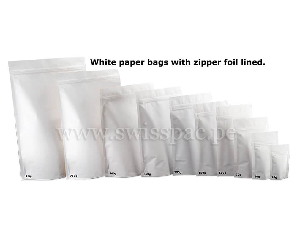 Bolsas de papel blanco con zipper e interno metalizado