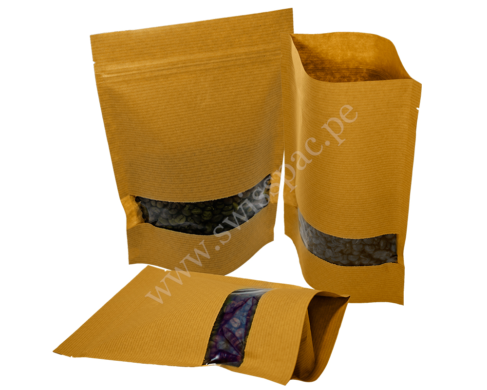 Brown Stripped Paper Bag with Rectangle Window