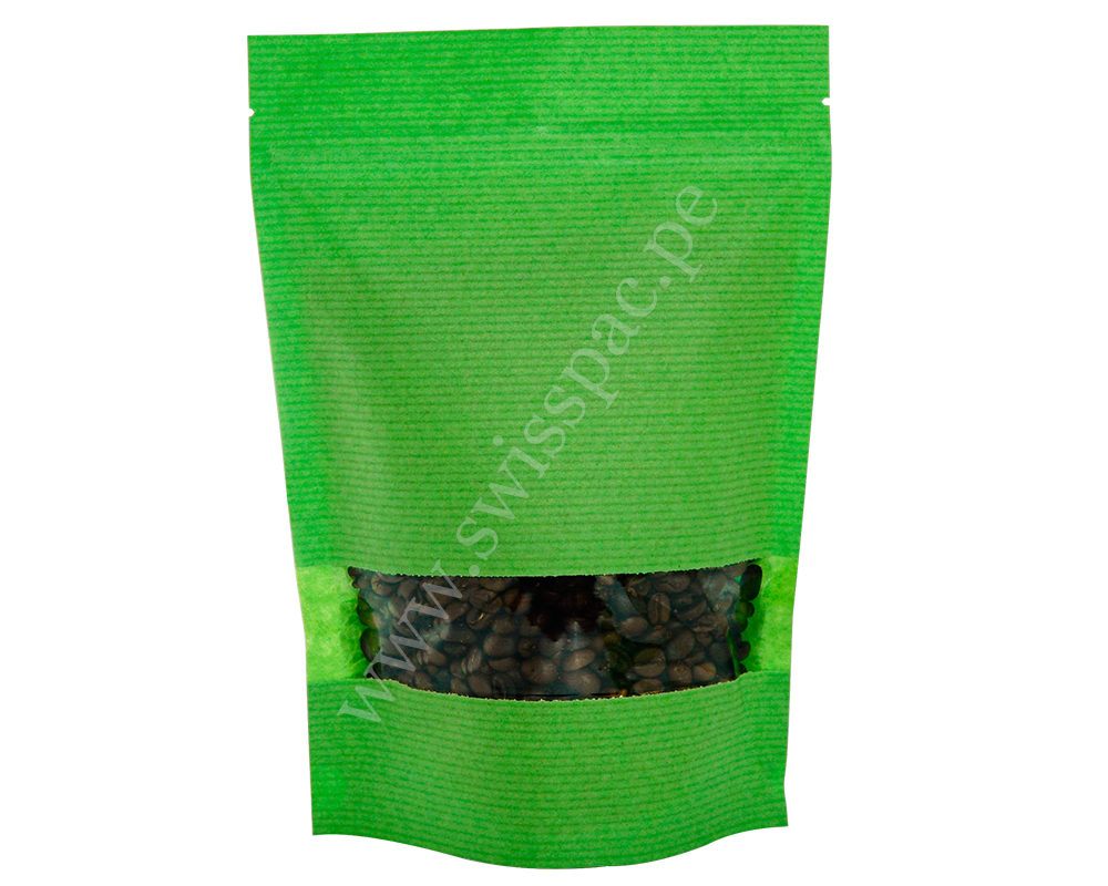 Green Stripped Paper Bag with Rectangle Window