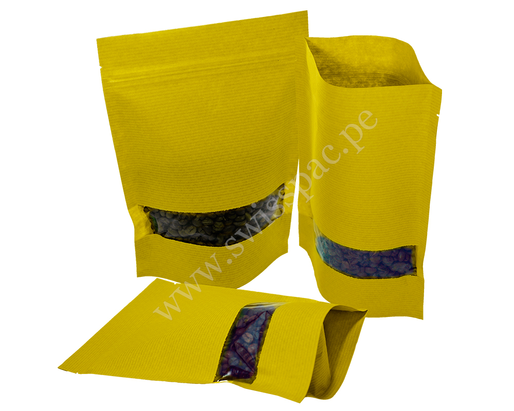 Yellow Stripped Paper Bag with Rectangle Window